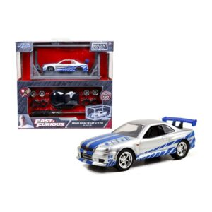 Jada Fast and Furious Build n' Collect Brian's Nissan Skyline GT-R R34 1:64 – 2020 – Gris
